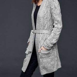 Gap gray cable knit wrap cardigan